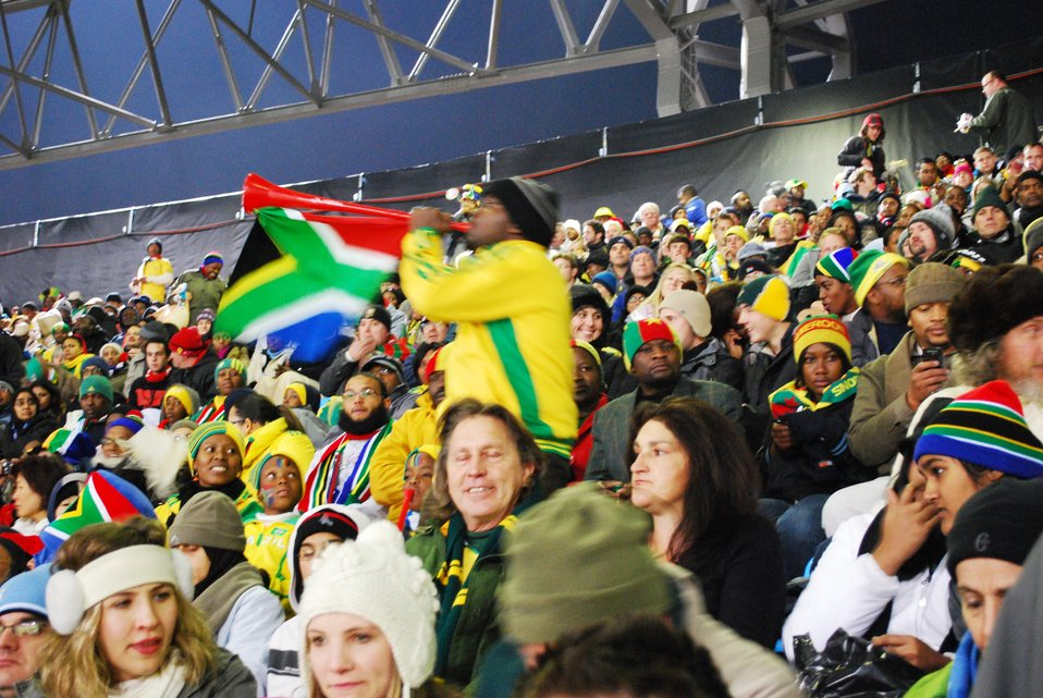 A South African Fan Plays His Vuvuzela
