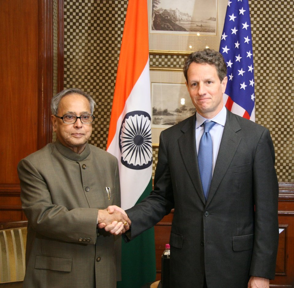 Secretary Geithner with Indian Finance Minister Mukherjee