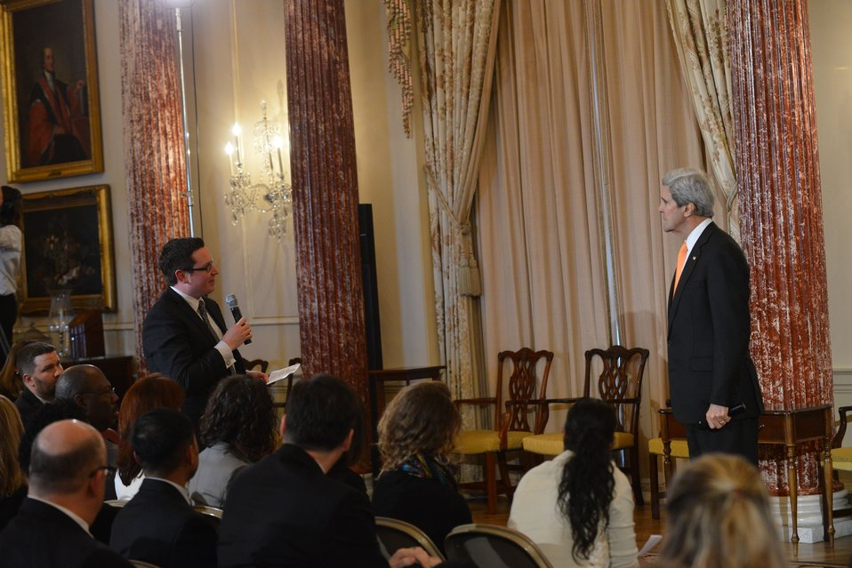 Secretary Kerry Listens to a Question From a State Department Employee