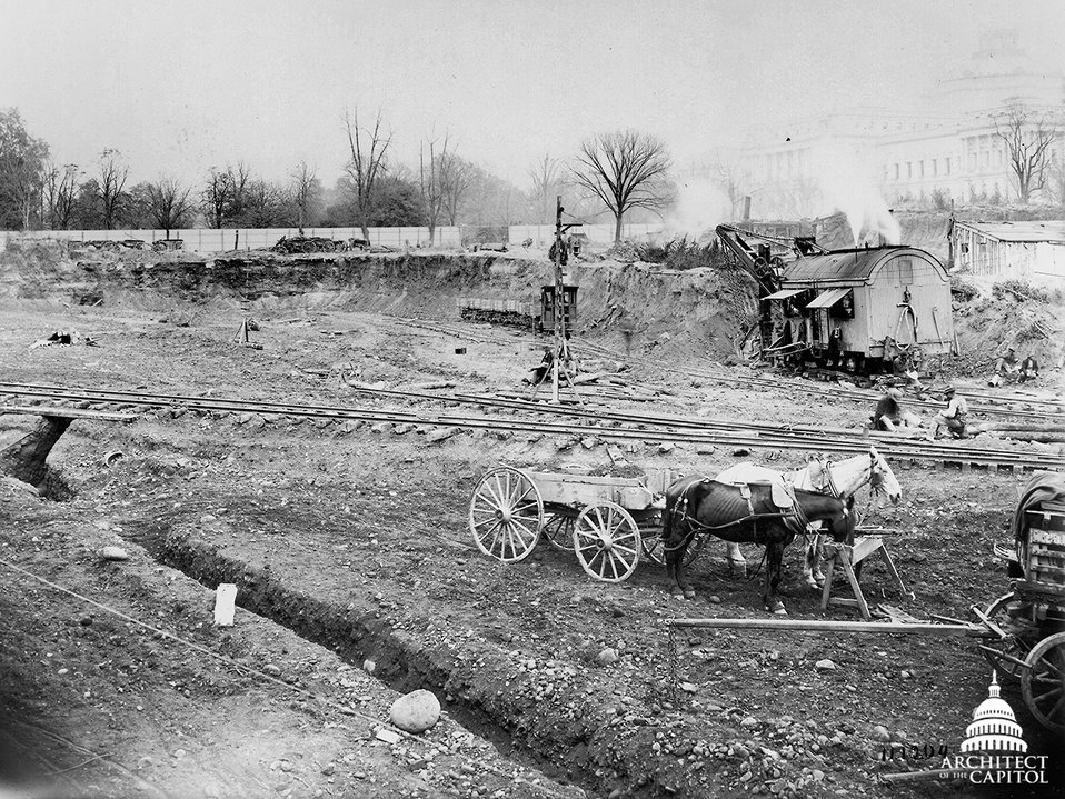 Excavation of site for the Cannon House Office Building