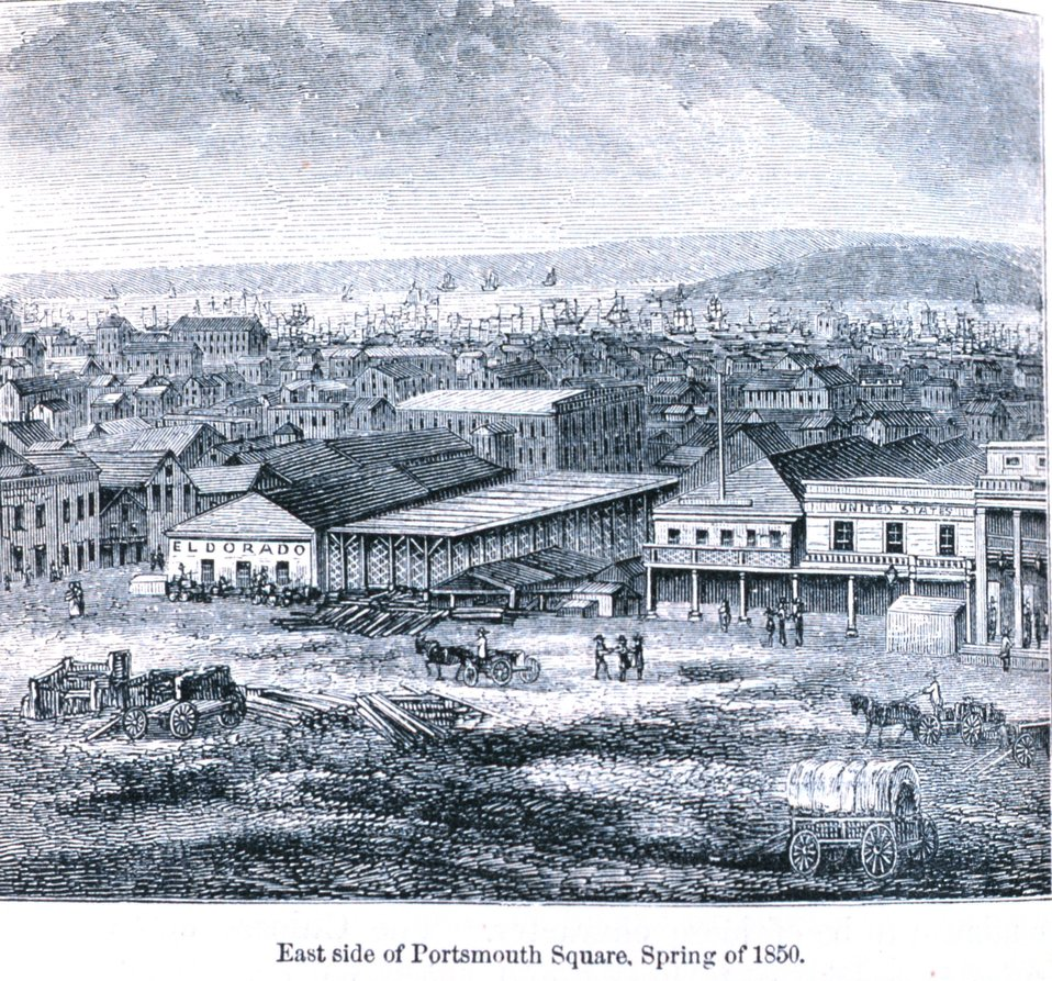 East side of Portsmouth Square, spring of 1850. In: 'The Annals of San Francisco'.  Frank Soule, John Gihon, and James Nesbit.  1855.  Page 358.  D. Appleton & Company, New York.  F869.S3.S7 1855.
