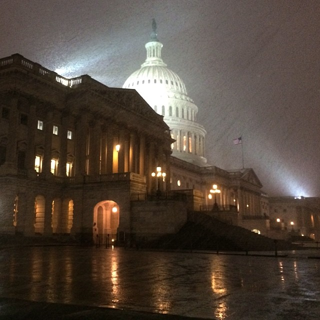 Snowy evening at the Capitol.