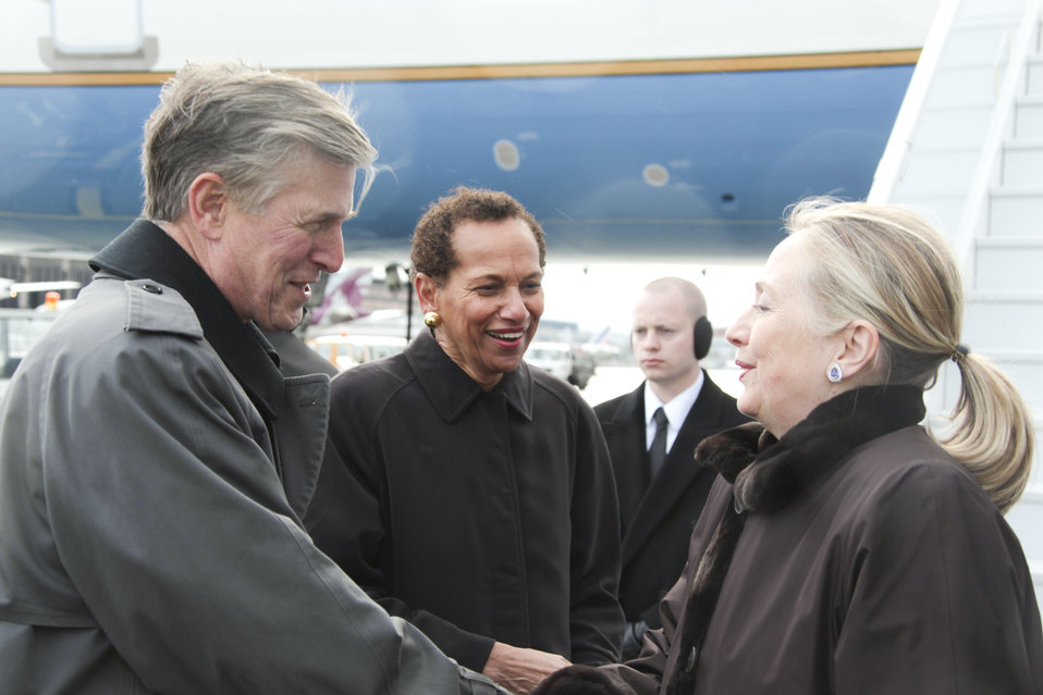 Secretary Clinton Is Welcomed By Ambassadors Beyer and King