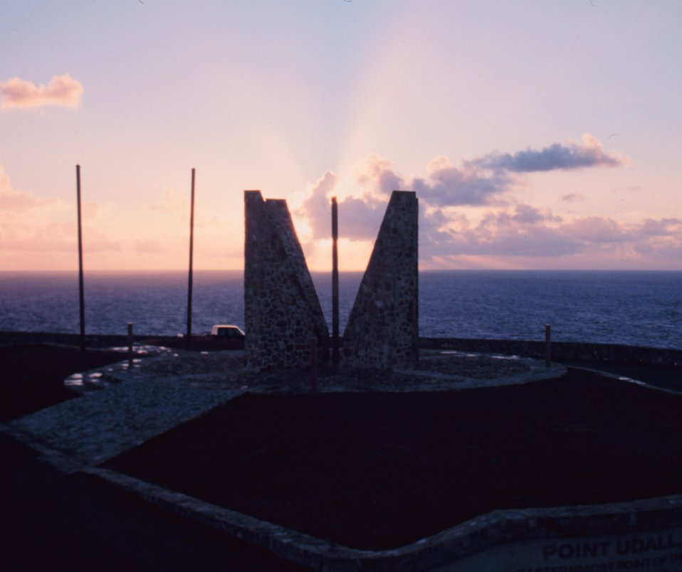 Sunrise at the Point Udall Millennium Monument.  Here the new day begins for the  United States in the Western Hemisphere.  The marker represents 'a continuum between all who have come before and all who are yet to come.'
