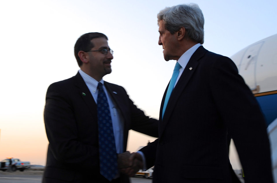 Secretary Kerry is Greeted by Ambassador Shapiro Upon Arrival in Israel For Peace Talks