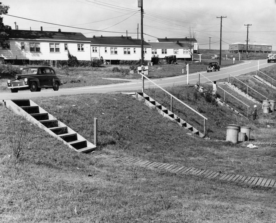 Wooden steps and boardwalk Hillside Ave. 1947 Oak Ridge