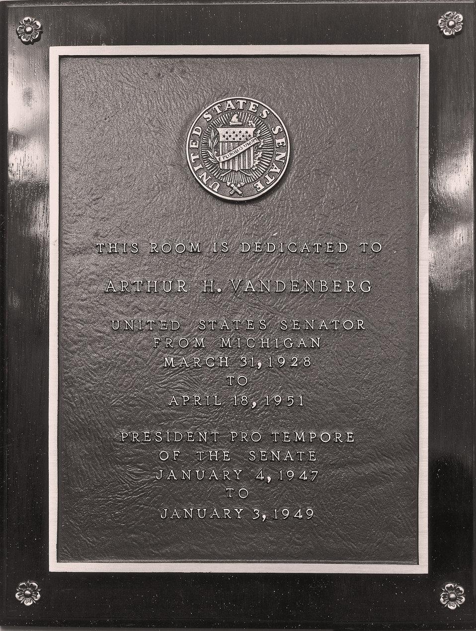 Arthur H. Vandenberg Room Plaque
