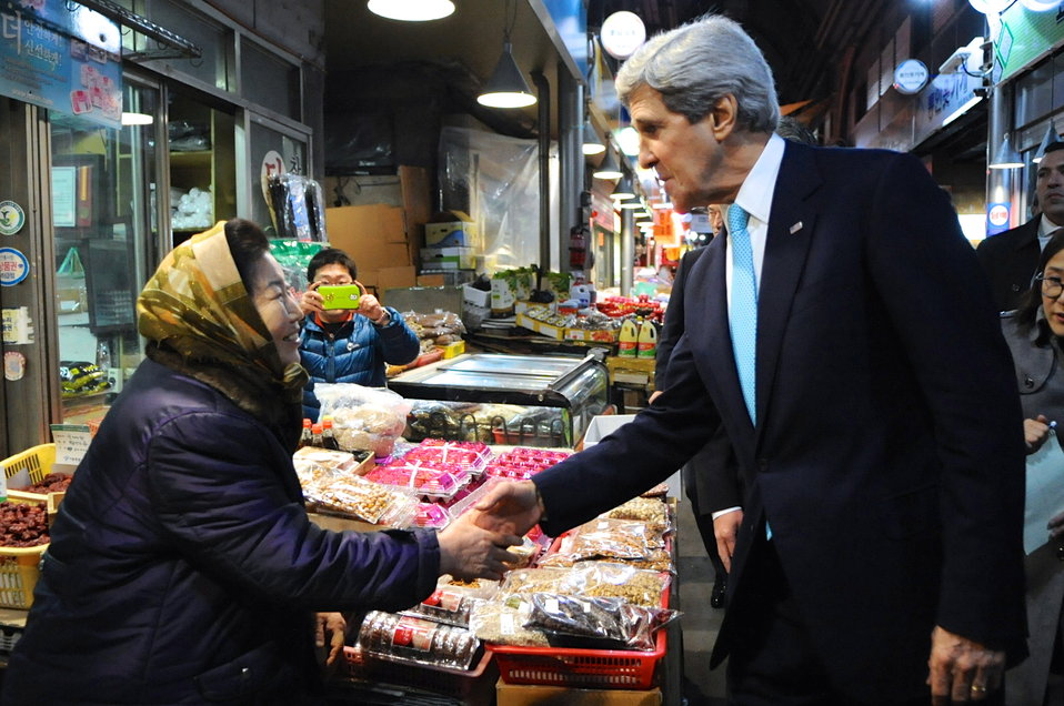 Secretary Kerry Greets South Korean Woman