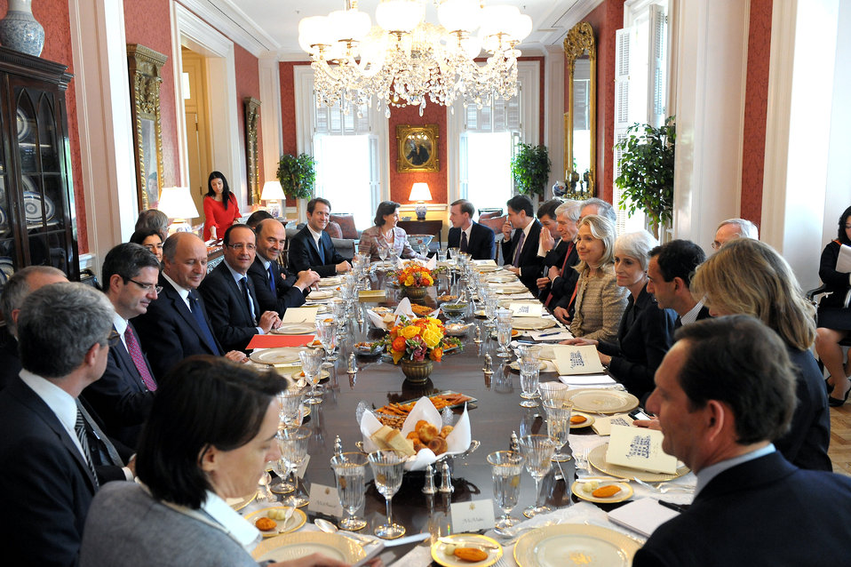 Secretary Clinton Hosts a Working Lunch for French President Hollande
