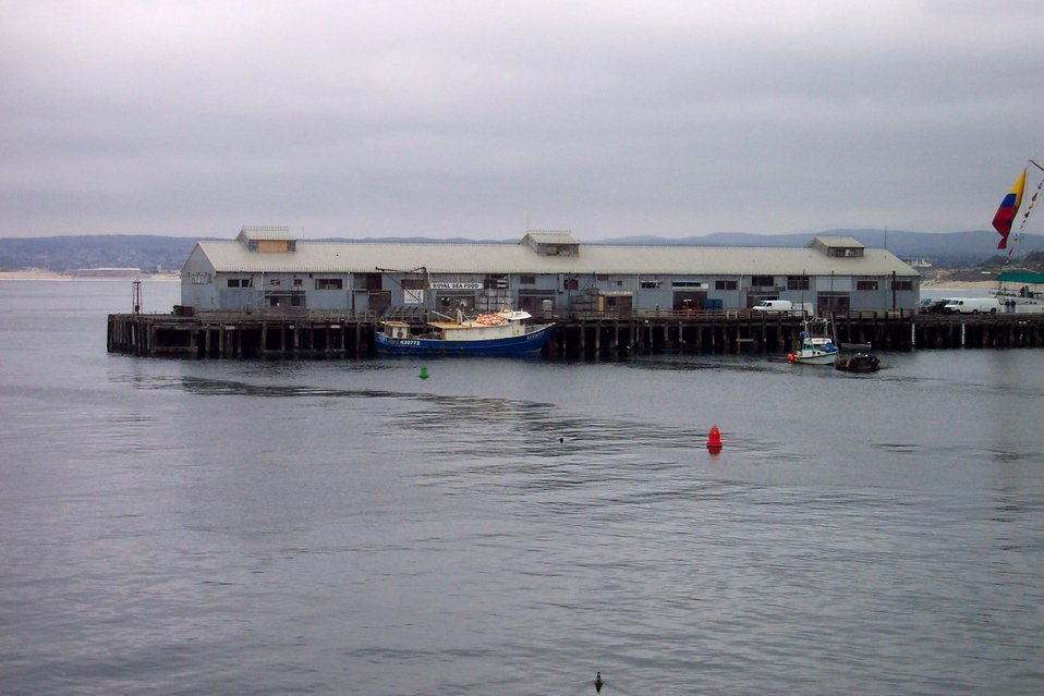 A scene reminiscent of a Steinbeck novel - the fishing vessel LUCKY tied up at a  commercial wharf at Monterey.
