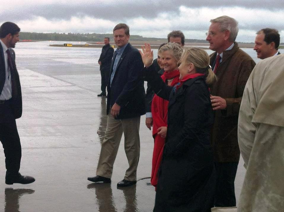 Secretary Clinton Is Greeted By Swedish Foreign Minister Bildt