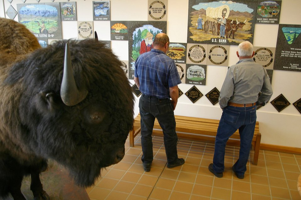 Visitors can relax and view contributor's tiles in the National Historic Oregon Trail Interpretive Center.