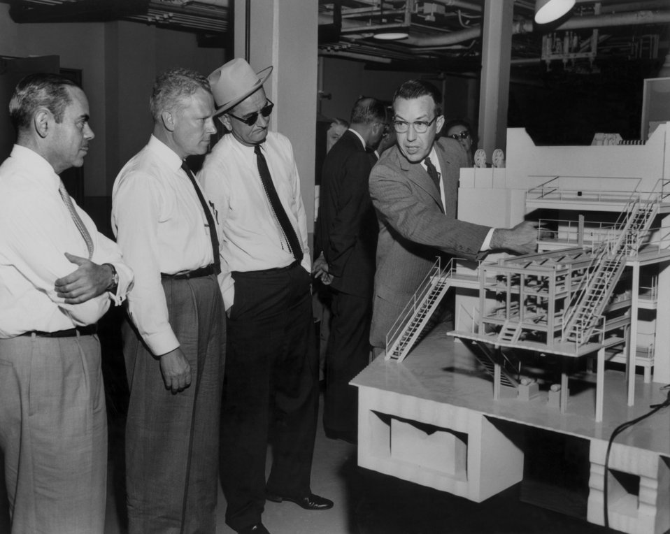S.R. Sapirie, Senator Albert Gore, Senator Lyndon Johnson, Dr. John Swartout, Looking at Model of Graghite Reactor at Oak Ridge National Lab.
