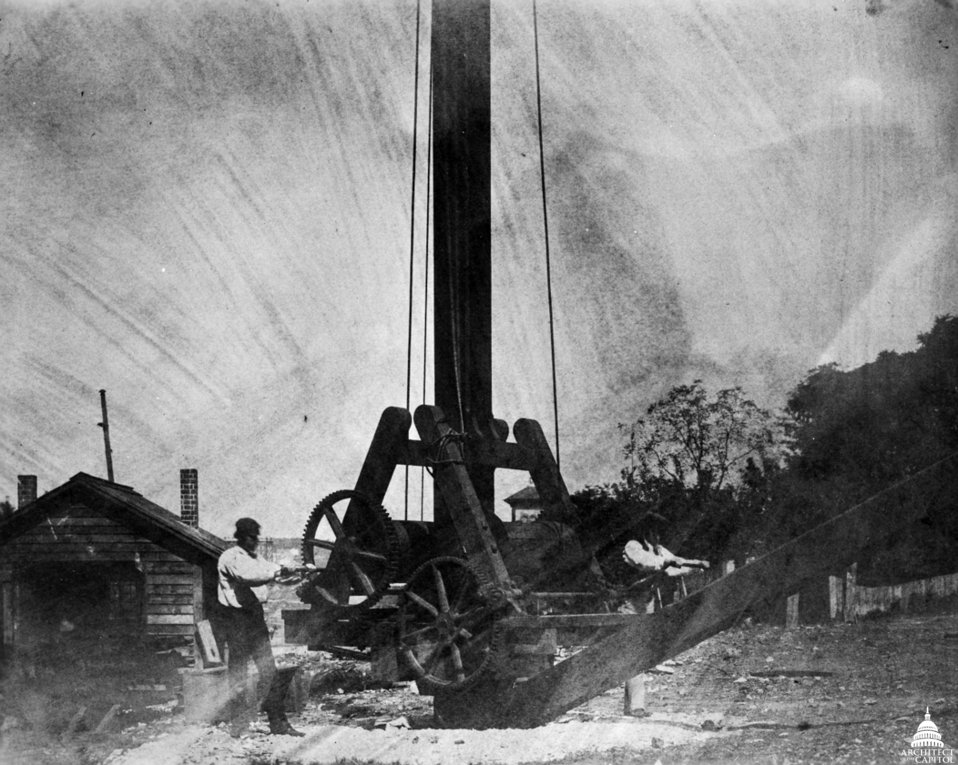Capitol Construction Crane in Yard 1850s