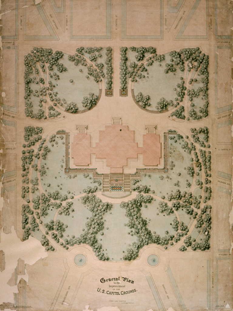 1874 Plan for the U.S. Capitol Grounds by Frederick Law Olmsted