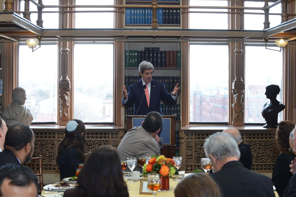 Secretary Kerry Delivers Remarks at the Georgetown University Interfaith Luncheon