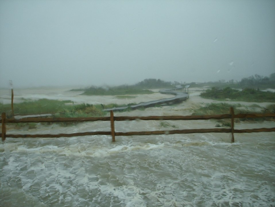 Flooded boardwalk near Toms Cove Visitor Center