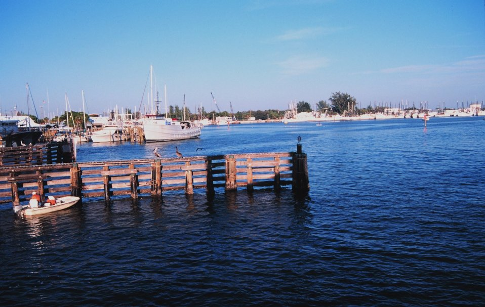 Shrimp boats docked along the Caloosahatchee River