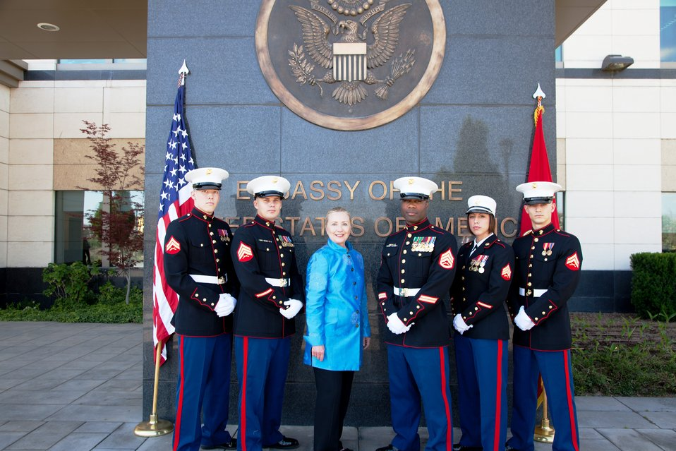 Secretary Clinton Meets With U.S. Marine Corps Guards