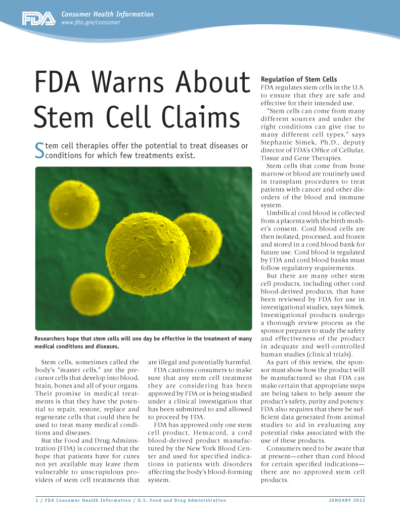 FDA Warns About Stem Cell Claims