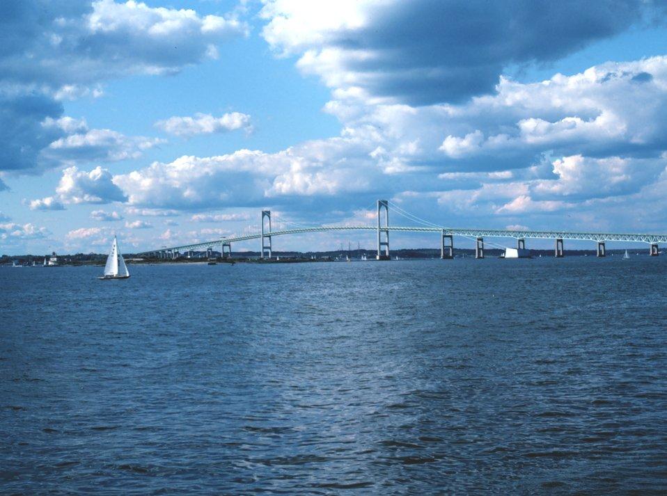 A view of the Newport Bridge