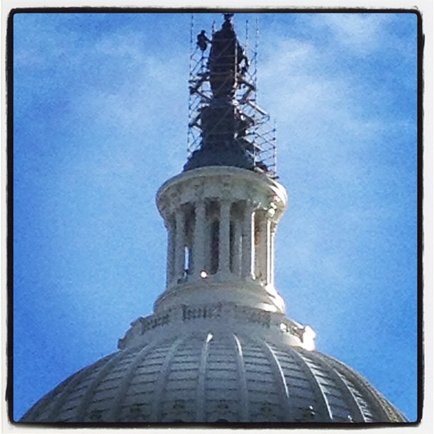 AOC has begun scaffold to support work on Statue of Freedom #preservation.