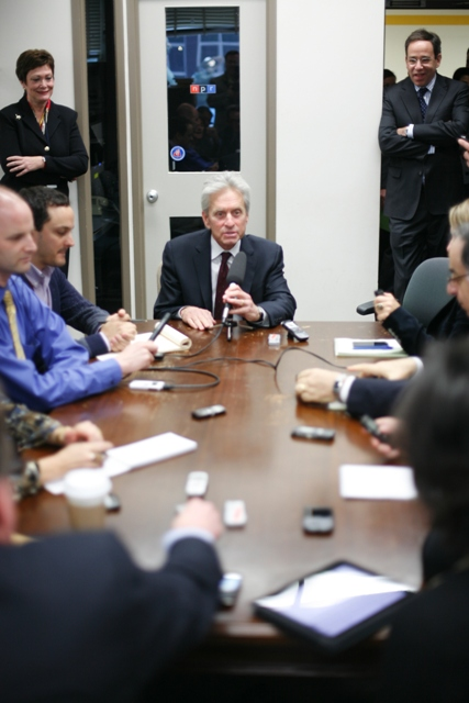 Actor Michael Douglas Is Interviewed By Members of State Department Press Corps