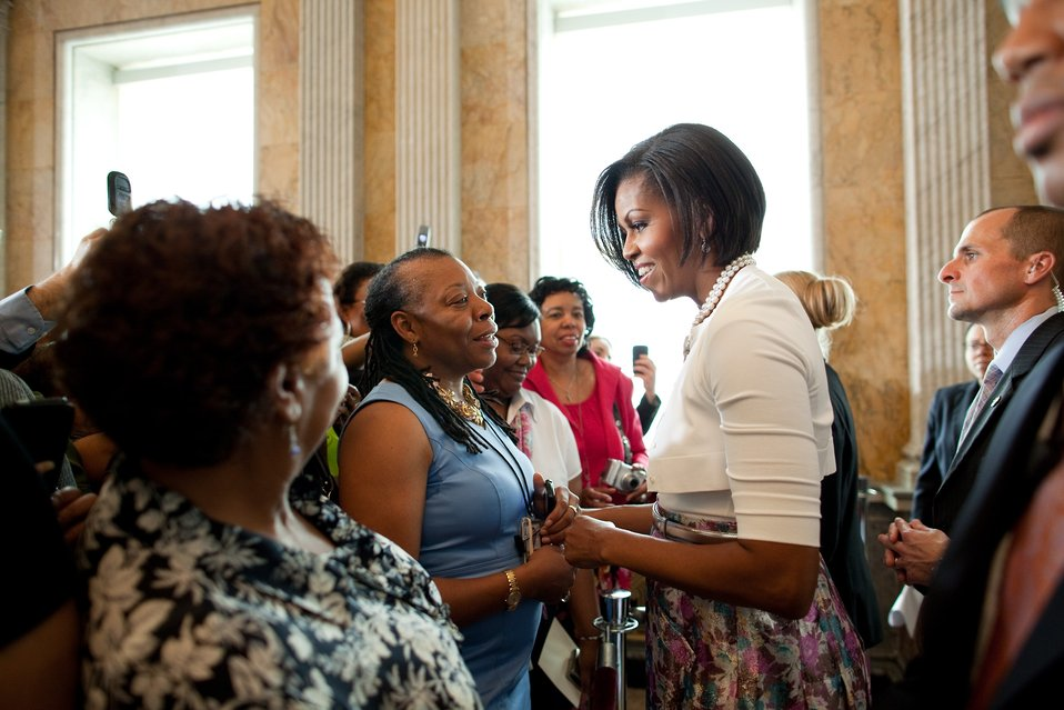 Michelle Obama visits the Treasury Department, 7/7/10