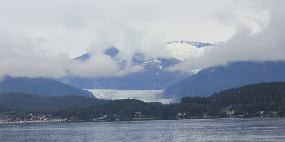 Approaching Juneau from the north.  Mendenhall Glacier is seen in middle of image.