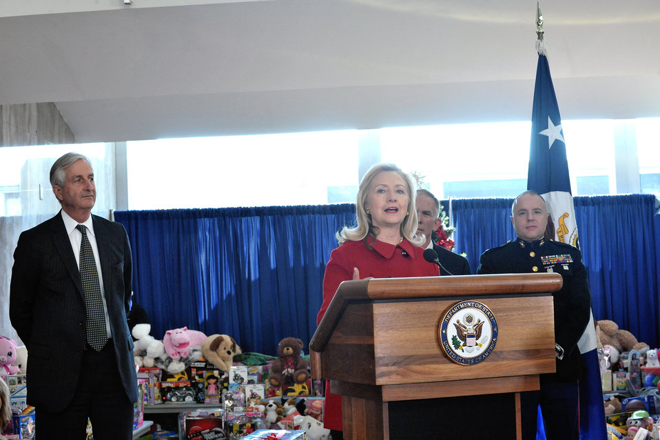 Secretary Clinton Delivers Remarks at Annual Toys for Tots Ceremonial Presentation