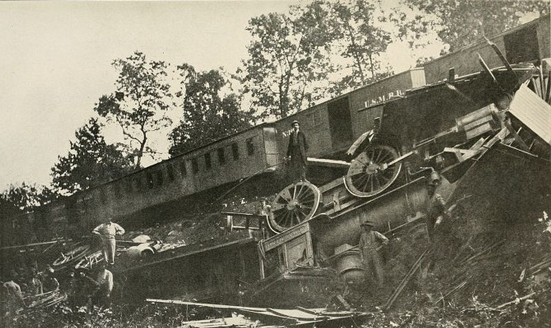 Union Trains Wrecked at Manassas on August 26, 1863