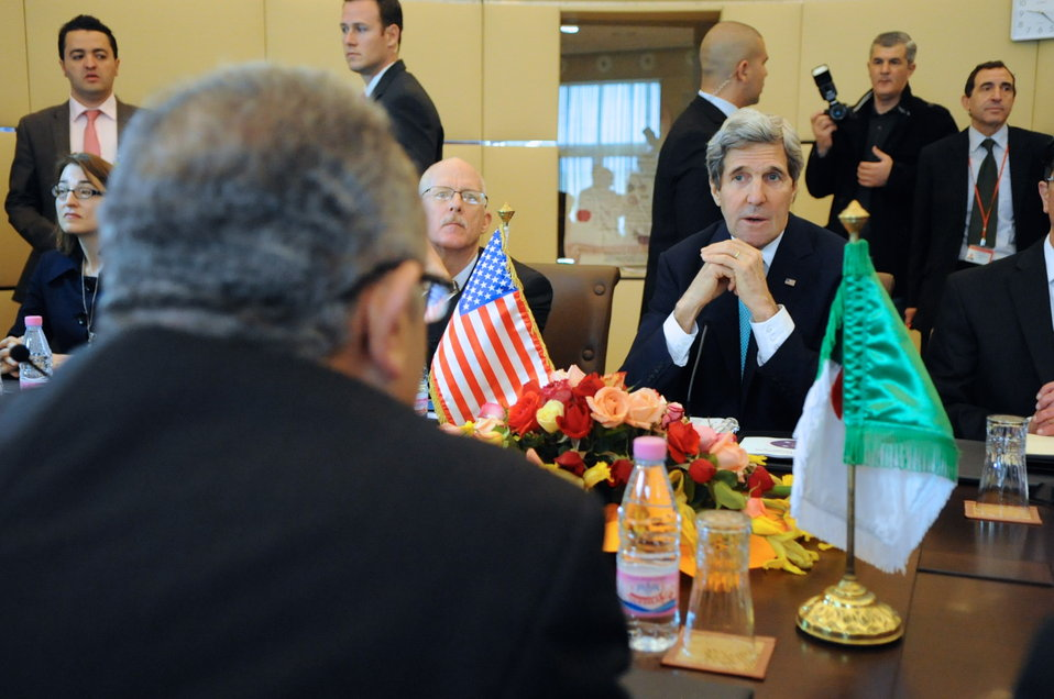 Secretary Kerry Listens to Algerian Foreign Minister at Outset of Strategic Dialogue