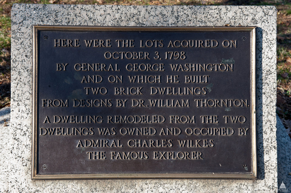 George Washington's Houses Plaque