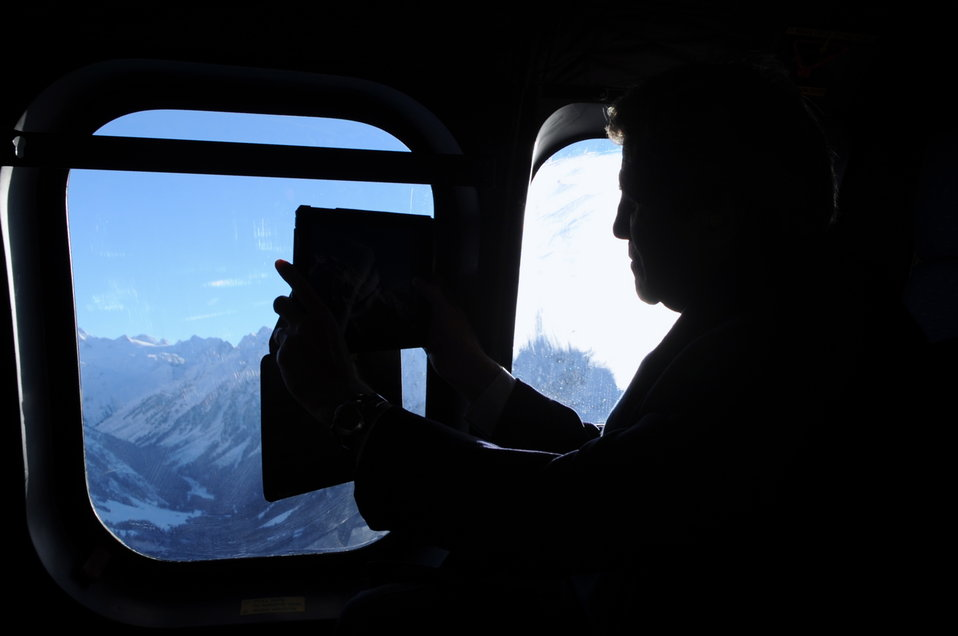 Secretary Kerry Getting a Shot of the Alps