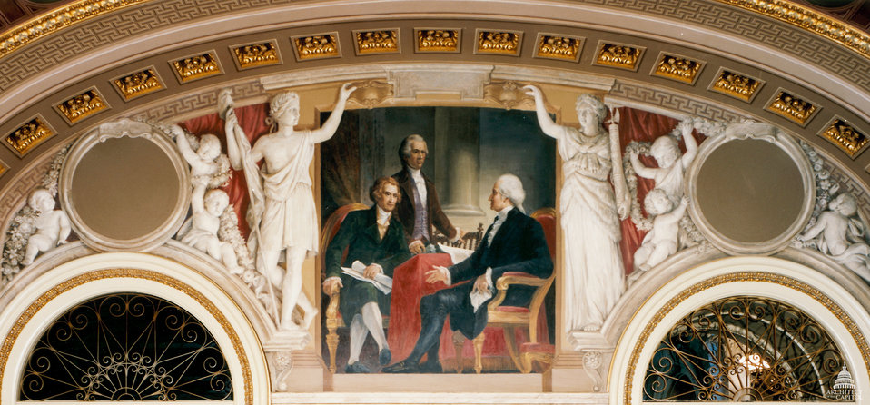 George Washington with Thomas Jefferson and Alexander Hamilton