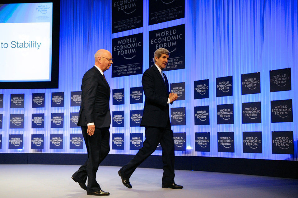 Secretary Kerry Walks Off Stage After Concluding Speech to World Economic Forum