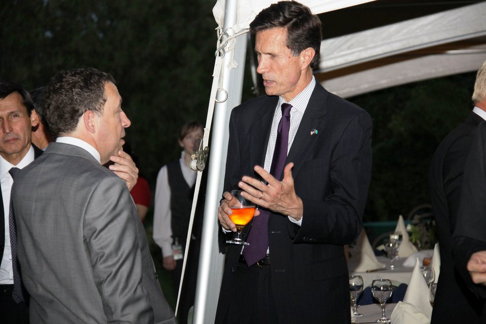 Assistant Secretary Blake Drinks Fire Water and Speaks With Former Ambassador Mann