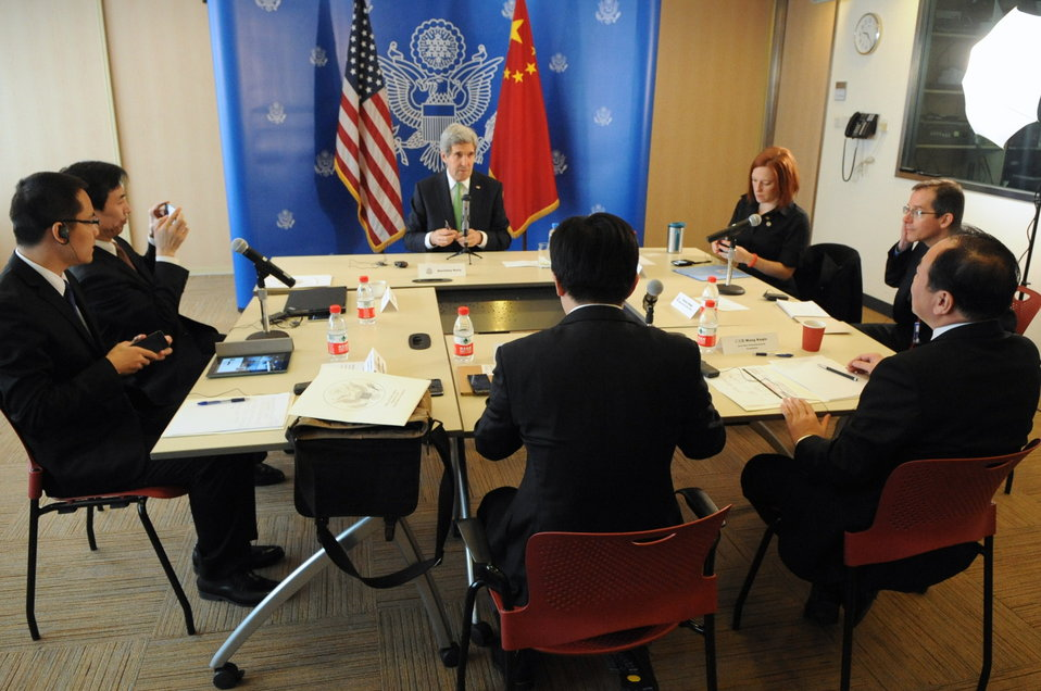 Secretary Kerry Addresses Bloggers During Meeting in China