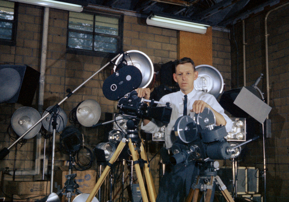 Ed Westcott with film making Equipment Oak Ridge
