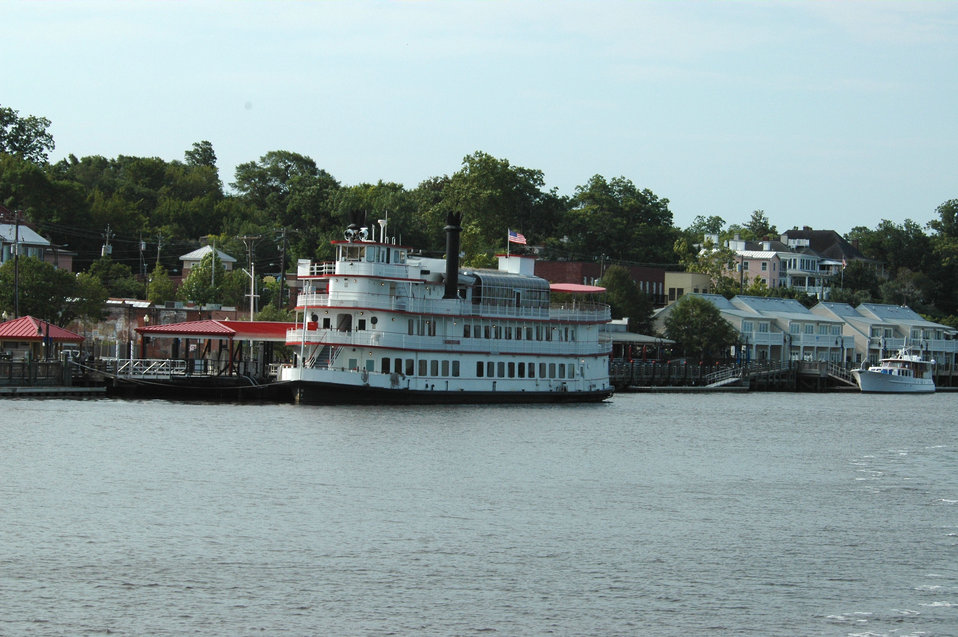 'Steamboat'  HENRIETTA III tied up along the Wilmington waterfront.