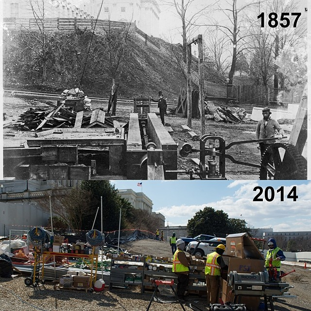 Work on the #CapitolDome then and now.