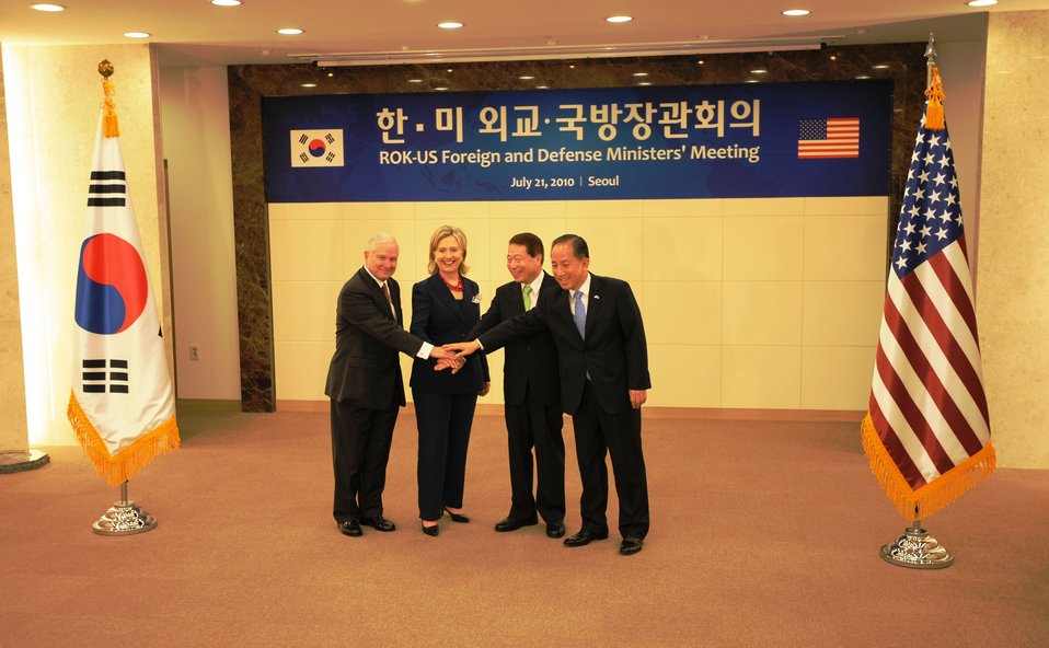 Secretary Gates, Secretary Clinton, Republic of Korea Foreign Minister Yu Myung-hwan, and Republic of  Korea Defense Minister Kim Tae-young Show Solidarity