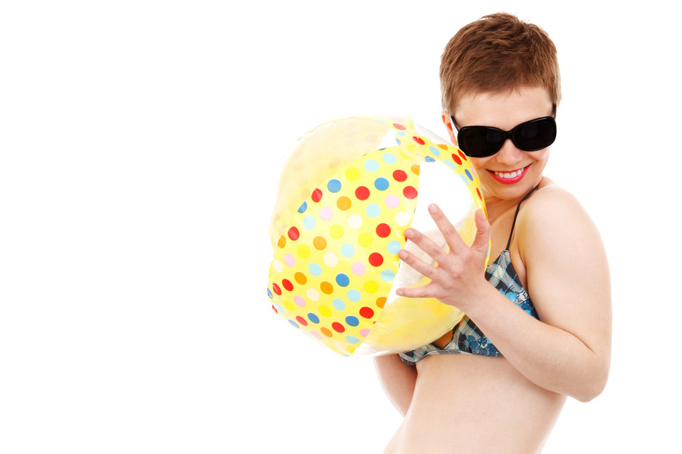 Having fun with beach ball