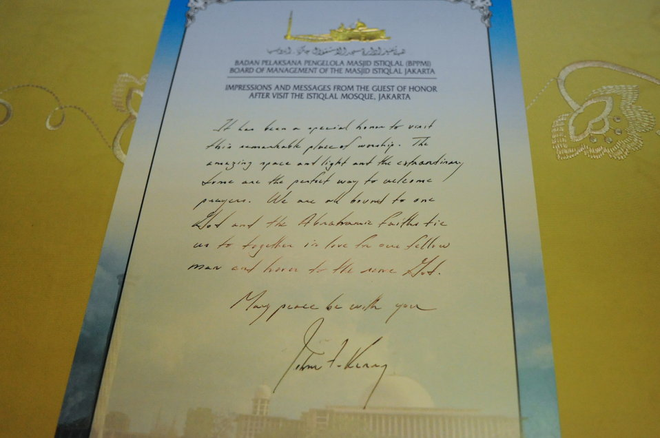 Message From Secretary Kerry After Visiting Istiqlal Mosque