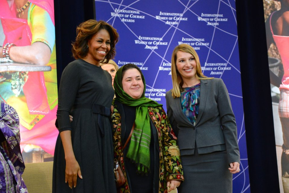 First Lady Michelle Obama and Deputy Secretary Higginbottom With 2014 IWOC Awardee Dr. Nasrin Oryakhil of Afghanistan