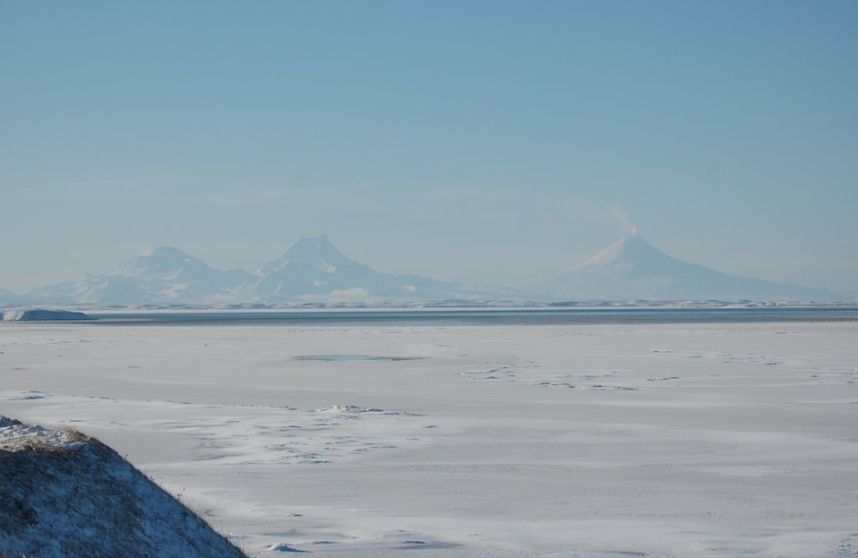 Unimak Volcanoes seen from Grant Pt