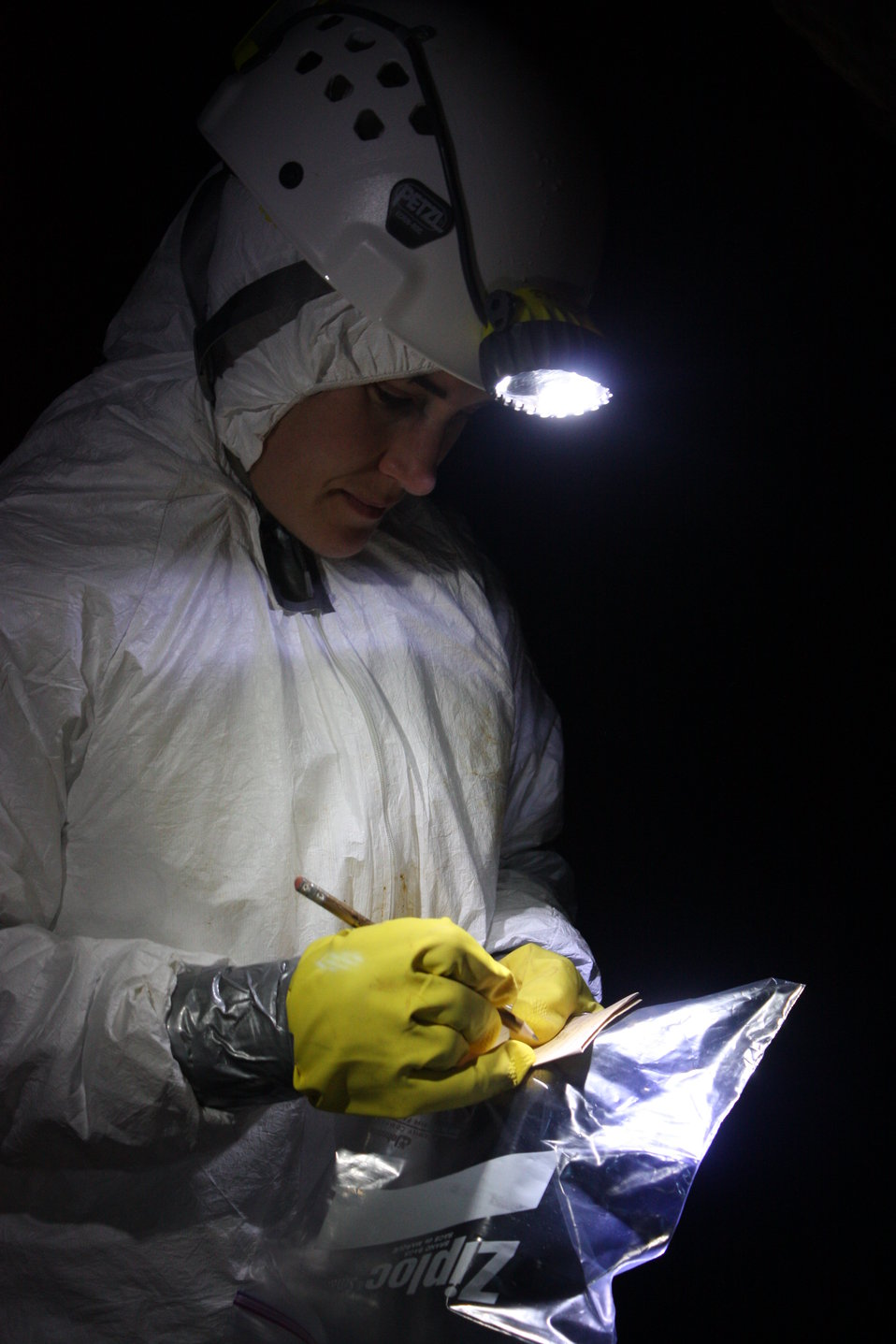 NCWRC biologist Gabrielle Graeter taking notes underground