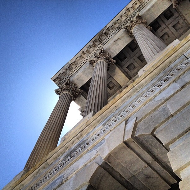 Corinthian columns of the Senate entrance to the Capitol