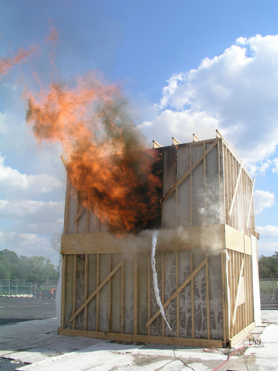 Fire research, structural collapse hazards, warning devices