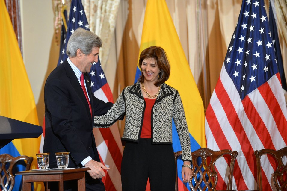 Secretary Kerry and Colombian Foreign Minister Holguin Walk Off Stage After Addressing the U.S.-Colombia High-Level Partnership Dialogue
